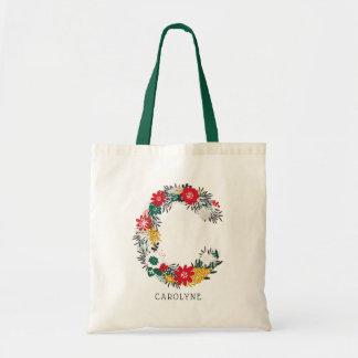 Letter C | Whimsical Floral Letter Monogram I Tote Bag