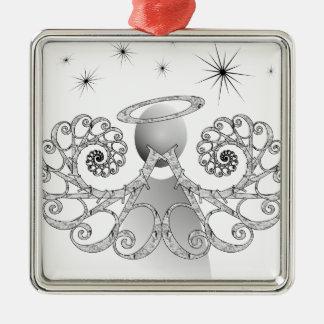 "Letter ""D"" Angel Silver-Colored Square Ornament"