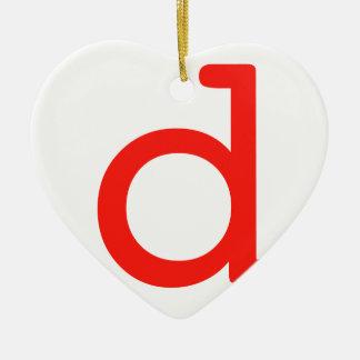 Letter D Ceramic Heart Ornament