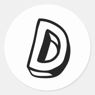 Letter D Classic Round Sticker