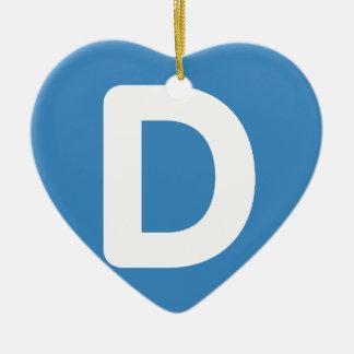 Letter D - emoji Twitter Ceramic Heart Ornament