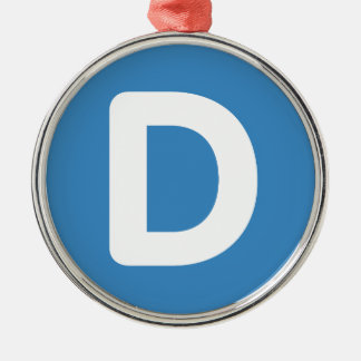 Letter D - emoji Twitter Silver-Colored Round Ornament
