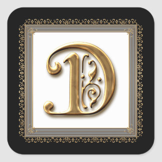 Letter D - Gold & Lace Classic Formal Wedding Seal Sticker