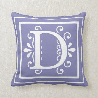 Letter D Monogram Periwinkle Purple Throw Pillow
