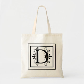 Letter D Monogram Tote Bag