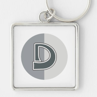 Letter D Silver-Colored Square Keychain