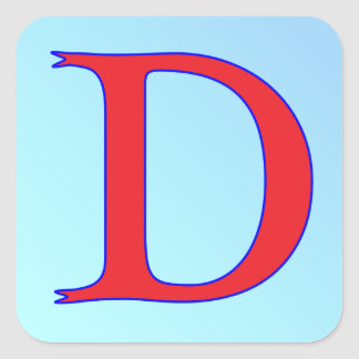 Letter D snake Square Sticker