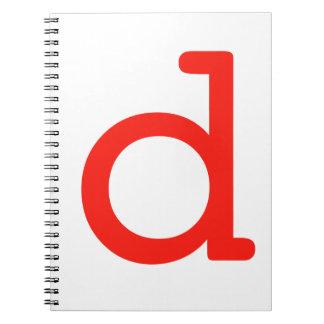 Letter d spiral note book