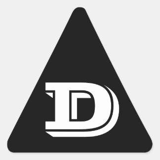 Letter D Vineta Black Triangle Stickers by Janz