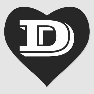 Letter D Vineta Font Black Heart Stickers by Janz