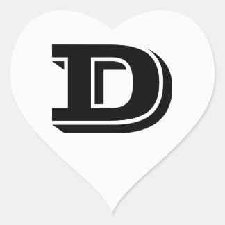 Letter D Vineta Font White Heart Stickers by Janz