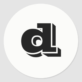 Letter D Vineta Font White Round Stickers by Janz