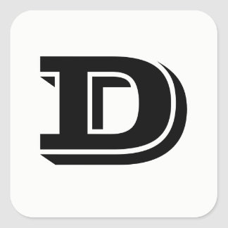 Letter D Vineta Font White Square Stickers by Janz