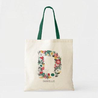 Letter D | Whimsical Floral Letter Monogram I Tote Bag