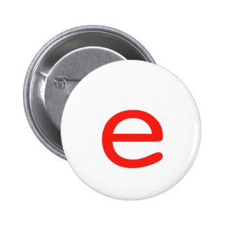 Letter e 2 inch round button