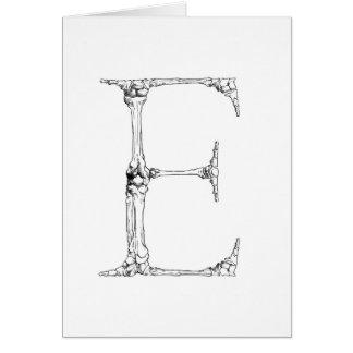 Letter E Bone Initial Card