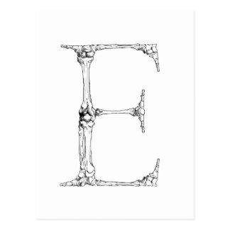 Letter E Bone Initial Postcard
