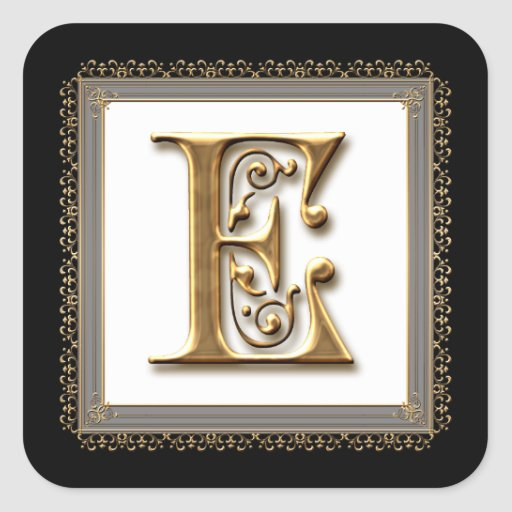 Letter E - Gold & Lace Classic Formal Wedding Seal Stickers