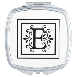Letter E Monogram Compact Mirror