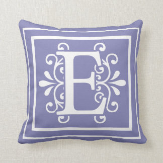 Letter E Monogram Periwinkle Purple Throw Pillow