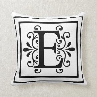 Letter E Monogram Throw Pillow