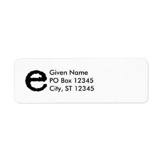 Letter E Return Address Label