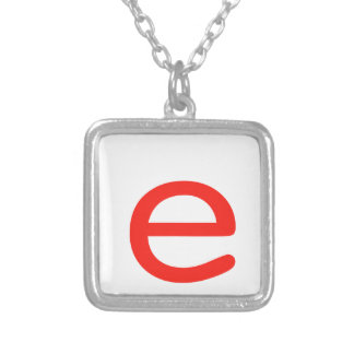Letter e silver plated necklace