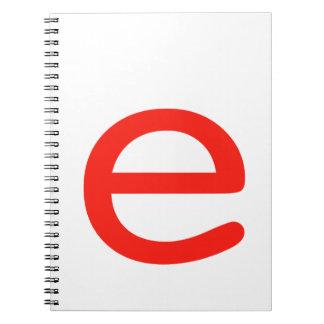 Letter e spiral note book