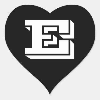 Letter E Vineta Font Black Heart Stickers by Janz
