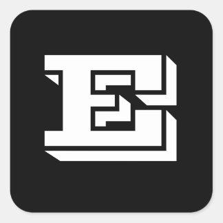 Letter E Vineta Font Black Square Stickers by Janz