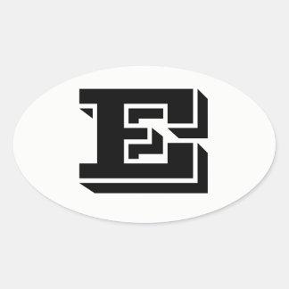 Letter E Vineta Font White Oval Stickers by Janz