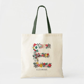 Letter E | Whimsical Floral Letter Monogram I Tote Bag