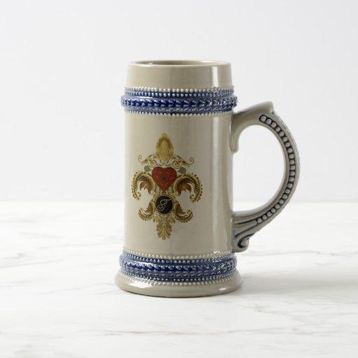 "Letter ""F"" Double Monogram Fleur-de-lis  Style 2 Coffee Mugs"
