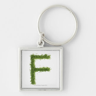 Letter 'F' in cress on white background, Keychain