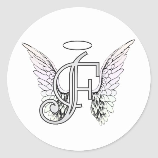 Letter F Initial Monogram with Angel Wings & Halo Classic Round Sticker