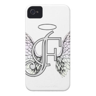 Letter F Initial Monogram with Angel Wings & Halo iPhone 4 Covers