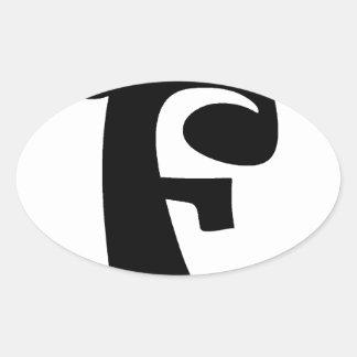 Letter F_large Oval Sticker