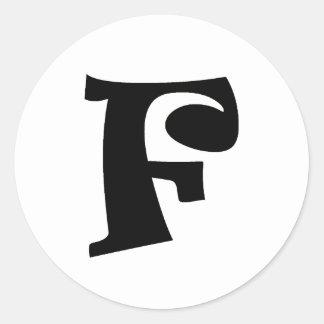 Letter F_large Round Sticker