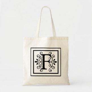 Letter F Monogram Tote Bag