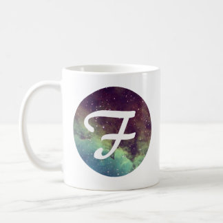 Letter 'F' Name Mug with Space Print Personalize