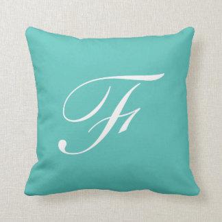 Letter F Turquoise Monogram Pillow