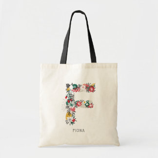 Letter F | Whimsical Floral Letter Monogram I Tote Bag
