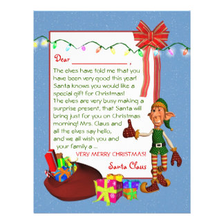 Letter from Santa  - Elf and toys Letterhead