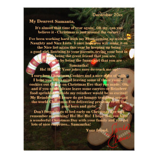 Letter from Santa Gingerbread Man Candy Cane Personalized Letterhead