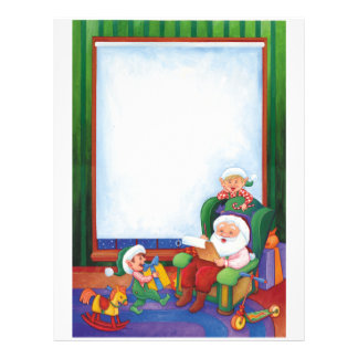 Letter From Santa: Santa seated with Elves Personalized Letterhead