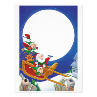 Letter From Santa: Sleigh at Night Letterhead Template