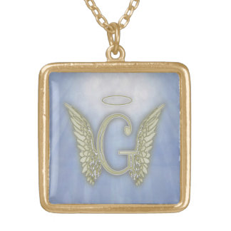 Letter G Angel Monogram Gold Plated Necklace