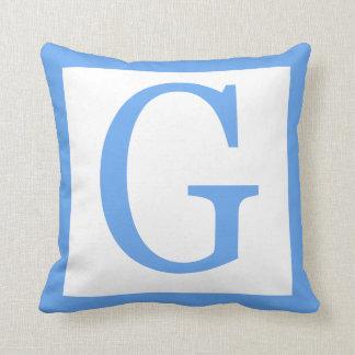 Letter G Baby Blue Border Throw Pillow