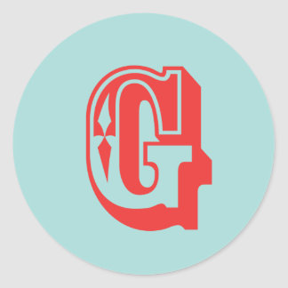 Letter G carnival style monogram initial favor Classic Round Sticker