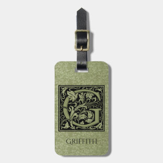 Letter G First Letter Monogram Luggage Tag